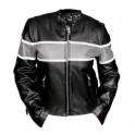 Pánská kožená bunda, černostříbrná, krátká