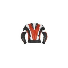 Pánská kožená bunda, červenobíločerná, krátká