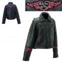 Dámská kožená bunda, černá, krátká, motorkářská