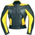 Pánská kožená bunda, černožlutá, krátká, motorkářská