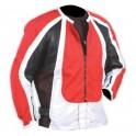 Pánská kožená bunda, červenobíločerná, krátká, motorkářská