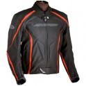 Pánská kožená bunda, černooranžová, krátká