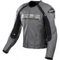 Pánská kožená bunda, šedočerná, krátká, motorkářská
