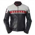 Pánská kožená bunda, černočervenobílá, krátká, motorkářská